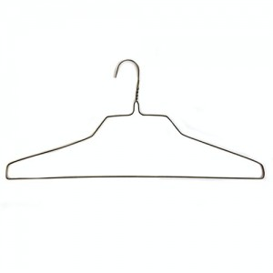 "16"" 14.5G Wire Shirt Hangers (White/Gold) (Box of 100)"