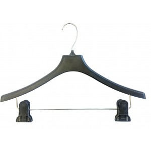 "15"" Adjustable Clip Hanger (Black, Durable Plastic, Box of 25)"